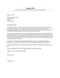 Sample Financial Cover Letter Cover Letter Samples Cover Letter