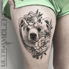 Epic Floral Brown Bear By At Tattoosbyerin Ultra Violence