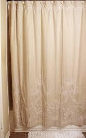 cream linen fabric shower curtains for bathroom decoration