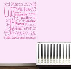 personalised baby birth wall decal on personalised baby wall art uk with baby birth wall sticker decals name custom design your own stencil