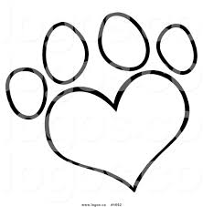 Small Picture Royalty Free Logo of a Black and White Heart Shaped Dog Paw Print