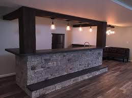 basement bar stone. Stunning Home Basement Bar Design Incorporating Faux Beams And Stone Veneer. B