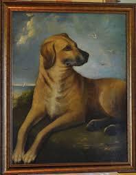 large antique painting dog in coastal setting