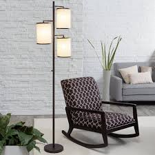 tree lamp 3 light floor lamp in antique bronze white cotton fabric shades