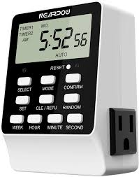 Dual Light Timer Outlet Timer Nearpow Dual Digital Light Timer With 2 Independently Controlled Outlets 18 On Off Programs 24 Hour And 7 Day Programmable Indoor