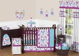 purple and turquoise baby bedding