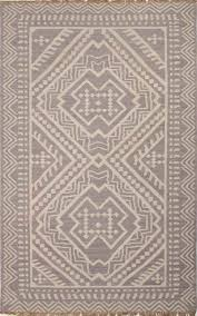 flat weave tribal gray ivory wool area rug olin flat