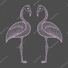 Kleurplaat Met Roze Flamingo Vogels Zentangle Illustartion T