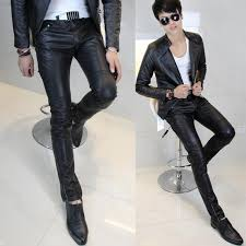 new arrival hot ing mens clothing leather pants tight leather pants male slim leather pants fashion men leather pants male gge5