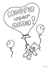 Kleurennu Ballon Met Hoera Voor Oma Kleurplaten