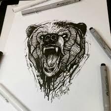 тату эскиз медведь графика лайнворк дотворк эскиз нарисован