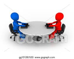 3d small business people sitting at round table