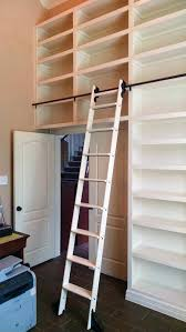 quiet glide rolling library ladder kit with satin ladders for bookcases includes moon chair modern bookcase
