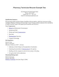 Printable Resume Example For Pharmacy Technician Job Position