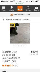 13 2 free packs of light grey random stone effect laminate flooring