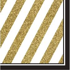 Black And Yellow Stripes Border Pack Of 192 Gold White Striped With Black Border 2 Ply Party Lunch