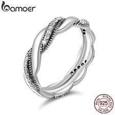 BAMOER <b>Genuine 100</b>% <b>925 Sterling</b> Silver Twist Ribbon Wrap ...