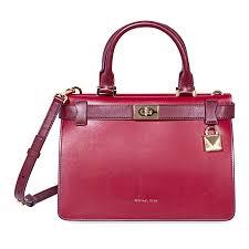 michael kors tatiana small leather satchel red