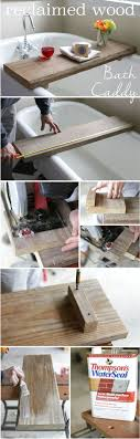 5 diy reclaimed wood bath caddy perfect for a relaxing bath with a glass of wine and a good book