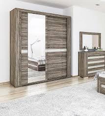 Schlafzimmer Schrank 204cm Kleiderschrank Spiegel Eiche Sonoma