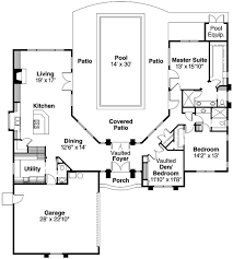 Floor Plan U Shaped One Story House Plans With Courtyard Pool