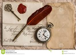 old letter wax seal vintage background quill clock key