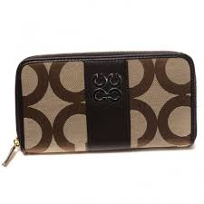 Coach Logo Signature Large Coffee Wallets CJY