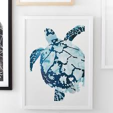 on turtle wall art painting with tropical sea turtle framed art by minted pbteen
