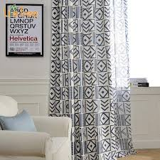 geometric patterns printed linen curtain for living room cotton window ds matching sheer custom made
