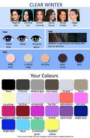 Seasonal Color Chart Seasonal Colour Types Clear Winter Chart Which Hair