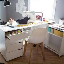 Home office white Cool Crea Contemporary Pure White Sewing And Craft Desk Home Depot White Desks Home Office Furniture The Home Depot
