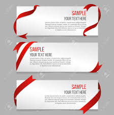 Horizontal Banners Vector Set With Red Ribbons Banner Sample