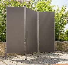 Outdoor Paravent Anthrazit Metall Stoff Sichtschutz Windschutz