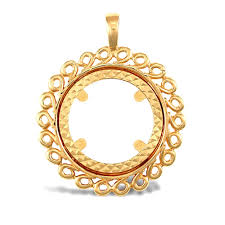solid 9ct yellow gold loop spiral frame half sovereign coin mount pendant