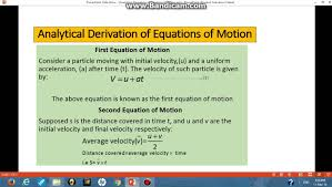 ytical derivation of equation of motion