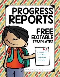 Printable Progress Reports For Elementary Students Progress Report Template Freebie Editable