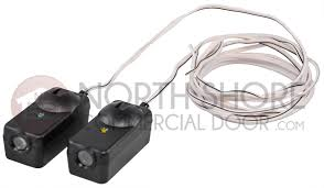 liftmaster 41a5034 safety sensor kit receiving and sending eyes with 3 2 conductor bell wire attached