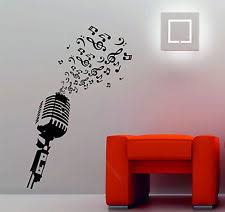 microphone music notes retro studio music dj decorative vinyl wall sticker decal on art deco style wall decals with buy vinyl art deco style novelty wall decals stickers ebay