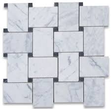 11 x11 carrara white large basketweave mosaic tile with black