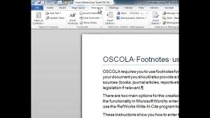 Oscola Word Footnotes