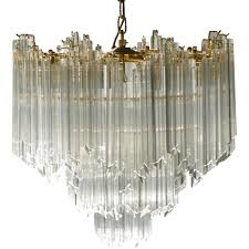 italian murano chandelier in brass and crystal paolo venini 1960s