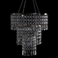 this refined chandelier is bedecked with large diamond cut crystals perfect for setting your space ablaze with light the diameter is 10 5 inches and the
