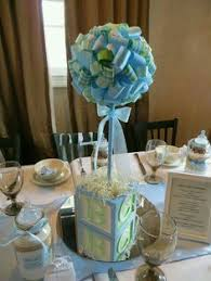 Lovely tablescape at a Blue and Green Baby Shower! See more party ideas at