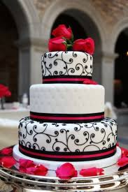 red black and white wedding decor