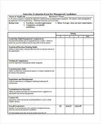Hr Evaluation Form. Sample Interview Evaluation Forms Student ...
