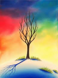 colorful art landscape painting bare tree art 12 x 16 original oil painting on stretched canvas