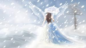 angel walking into snow graphic