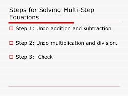 5 steps for solving multi step equations