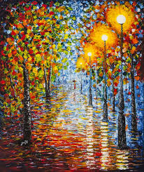 rainy reflections autumn evening acrylic palette knife painting by georgeta blanaru