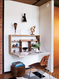 Wall mounted office desk Curved Wall If Youre Low On Square Footage Wallmounted Desk Or Builtin Work Surface Can Be Great Spacesaving Solution Providing Roughly The Same Work Area Pinterest Wallmounted Desks And Builtin Work Surfaces That Will Save Space